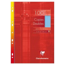 COPIES DOUBLES 100P PERF SEYES A4 BLEU 90GR CLAIREFONTAINE